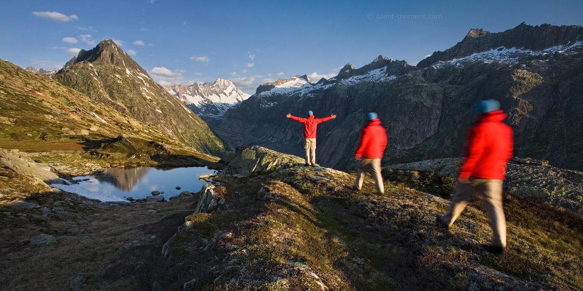 Schweiz, Kanton Bern, Berner Oberland, Lauteraarhorn, Vorderer Zinggebstock, Person, Mensch, allein