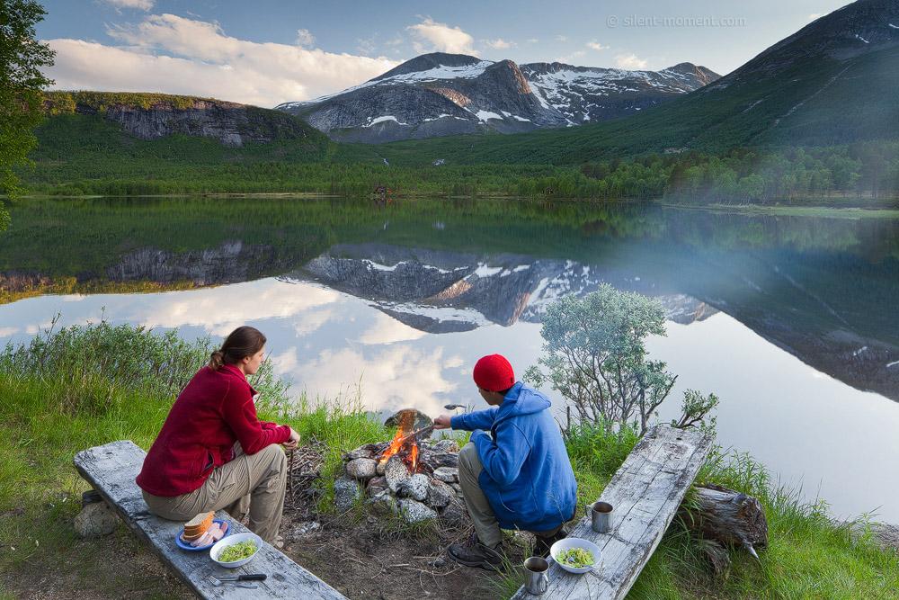 Norwegen, Nordland, Krakmo, Settvatnet, Rastplatz, See, grillen