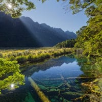Mirror Lake, Fiordland Nationalpark, Southland, Südinsel, Neuseeland