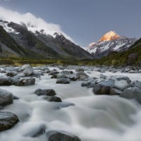 Aoraki, Hooker River, Mount Cook Nationalpark, Canterbury, Südinsel, Neuseeland